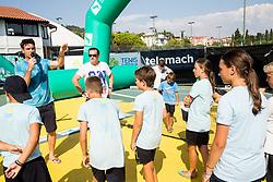 Gregor Krusic, Rado Mulej at Kids Day during Day 7 at ATP Challenger Zavarovalnica Sava Slovenia Open 2018, on August 9, 2018 in Sports centre, Portoroz/Portorose, Slovenia. Photo by Vid Ponikvar / Sportida