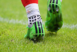 CARDIFF, WALES - Friday, June 5, 2015: The Adidas boots and Trusox of Wales' Gareth Bale during a practice match at the Cardiff City Stadium ahead of the UEFA Euro 2016 Qualifying Round Group B match against Belgium. (Pic by David Rawcliffe/Propaganda)