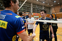 Daniel Lewis of ACH and Luka Slabe of Kropa during volleyball match between ACH Volley and UKO Kropa at Finals of Slovenian Cup 2010, on December 21, 2010 in Dvorana OS, Nova Gorica, Slovenia. ACH Volley defeated Kropa 3-0 and become Slovenian Cup Champion. (Photo By Vid Ponikvar / Sportida.com)