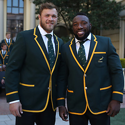 Duane Vermeulen with Tendai Mtawarira of South Africa during the South African Springbok team photo, Tsogo Sun Montecasino Hotel <br /> Johannesburg .South Africa. 08,06,2018 Photo by (Steve Haag Sports)