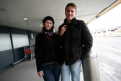 UK ENGLAND LONDON 15APR10 - Stranded airline passengers Jacqueline Gernert (26) from Eschborn and  Thorsten Lehnhardt (31) from Alzenau stand at Heathrow's Terminal 1 awaiting further news of air traffic. Today the UK's airspace was totally closed due to high altitude ash clouds after a volcanic eruption in Iceland...jre/Photo by Jiri Rezac..© Jiri Rezac 2010