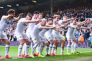 Ezgjan Alioski of Leeds United (10) scores a goal and celebrates with team mates to make the score 2-1 during the EFL Sky Bet Championship match between Leeds United and Bolton Wanderers at Elland Road, Leeds, England on 23 February 2019.