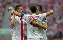 13.06.2015, Nationalstadion, Warschau, POL, UEFA Euro 2016 Qualifikation, Polen vs Greorgien, Gruppe D, im Bild ARKADIUSZ MILIK POL ROBERT LEWANDOWSKI POL RADOSC // during the UEFA EURO 2016 qualifier group D match between Poland and Greorgia at the Nationalstadion in Warschau, Poland on 2015/06/13. EXPA Pictures © 2015, PhotoCredit: EXPA/ Pixsell/ MICHAL CHWIEDUK<br /> <br /> *****ATTENTION - for AUT, SLO, SUI, SWE, ITA, FRA only*****