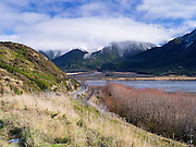 The Waimakariri Valley and Polar Range, and overhanging clouds; New Zealand; June 2013