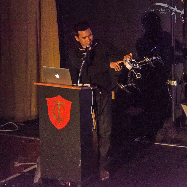 Eric Cheng on stage at the Tested.com live show, Oct 23, 2015, Castro Theater, San Francisco. Photo courtesy George Krieger.
