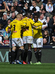 Brentford Celebrate Alex Pritchard Goal, Derby County v Brentford, Sy Bet Championship, IPro Stadium, Saturday 11th April 2015. Score 1-1,  (Bent 92) (Pritchard 28)<br /> Att 30,050