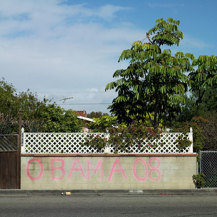 Obama graffiti on a wall in Venice Beach, CA, February 2008.