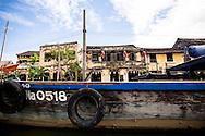 Moored boat along Thu Bon River, Hoi An, Vietnam, Southeast Asia
