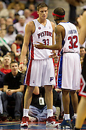 March 28 2010:  Detroit Pistons' Richard Hamilton (32) talks to Jonas Jerebko (33) during the NBA basketball game between the Chicago Bulls and Detroit Piston at  the Palace in Auburn Hills, Michigan.