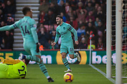 Sead Kolasinac (Arsenal) celebrates an own goal putting Arsenal in the lead 0-1 during the Premier League match between Bournemouth and Arsenal at the Vitality Stadium, Bournemouth, England on 25 November 2018.