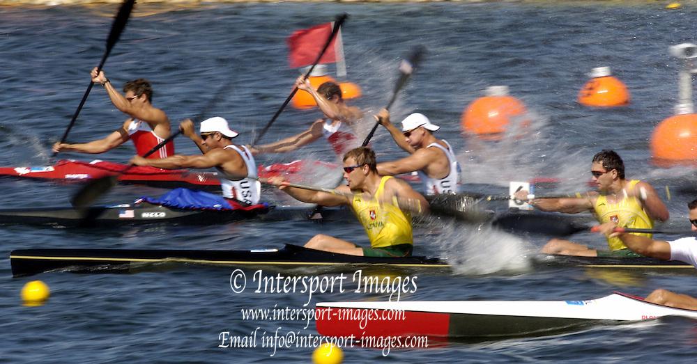 20040824 Olympic Games Athens Greece .[Canoe/Kayak Flatwater Racing]  Lake Schinias..K2 Men's 500m.USA Bartosz Wolski and Rami Zur. .Photo  Peter Spurrier.email images@intersport-images.com...