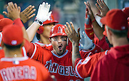 Bobby Wilson celebrates in the Angel dugout with teammates after hitting a two-run homer in the sixth inning of Saturday's game against the Toronto Blue Jays.