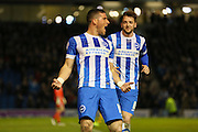 Brighton striker, Tomer Hemed (10) celebrates his second goal during the Sky Bet Championship match between Brighton and Hove Albion and Fulham at the American Express Community Stadium, Brighton and Hove, England on 15 April 2016. Photo by Phil Duncan.