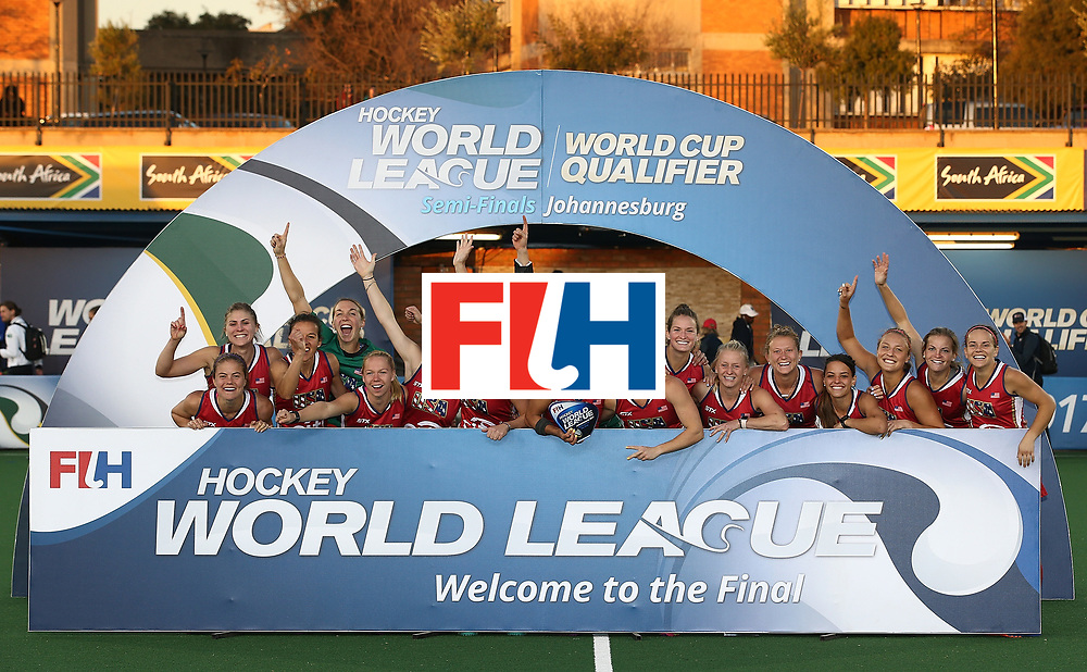 JOHANNESBURG, SOUTH AFRICA - JULY 23:  United States of America players pose after securing 1st place during day 9 of the FIH Hockey World League Women's Semi Finals at Wits University on July 23, 2017 in Johannesburg, South Africa.  (Photo by Jan Kruger/Getty Images for FIH)
