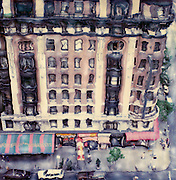 Altered Polaroid photo of building, awnings, sidewalk on upper West Side of NYC shot from rooftop across the street