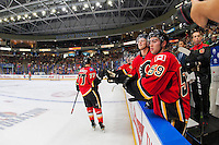 PENTICTON, CANADA - SEPTEMBER 17: Mark Jankowski #77 of Calgary Flames celebrates a goal against the Edmonton Oilers on September 17, 2016 at the South Okanagan Event Centre in Penticton, British Columbia, Canada.  (Photo by Marissa Baecker/Shoot the Breeze)  *** Local Caption *** Mark Jankowski;
