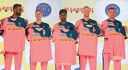 March 22, 2019 - Jaipur, Rajasthan, India - (L to R ) Rajasthan Royals players Jaydev Unadkat ,Steve Smith , Sanju Samson , Ben Strokes and Jos Butler during the team jersey unveiled ceremony ahead the IPL 2019 matches  in Jaipur, Rajasthan, India  on March 22,2019. (Credit Image: © Vishal Bhatnagar/NurPhoto via ZUMA Press)