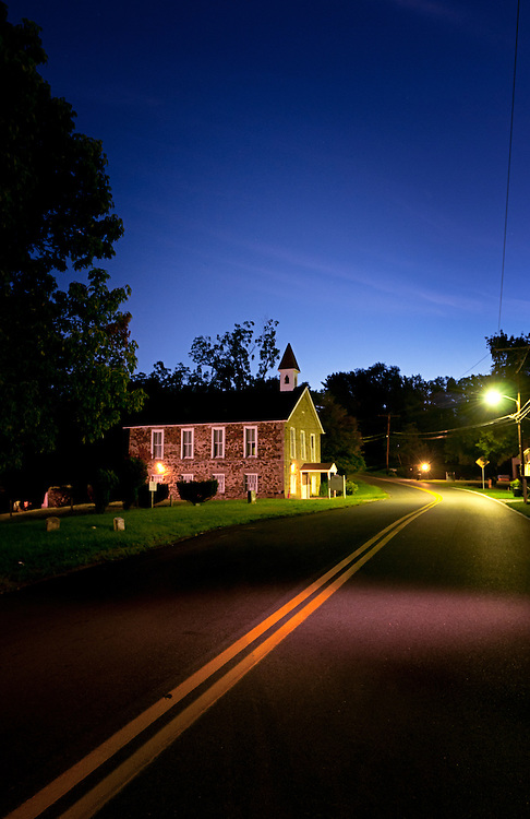 The Historic Mount Gilboa Church in Oella, Maryland at dawn.