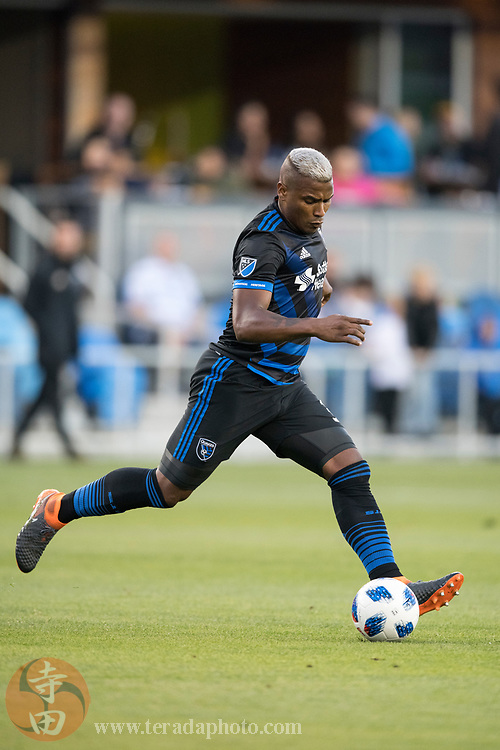 May 19, 2018; San Jose, CA, USA; San Jose Earthquakes defender Harold Cummings (31) during the first half against D.C. United at Avaya Stadium.