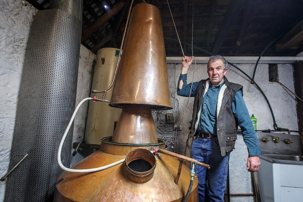 Belgrove Distillery owner Peter Bignell inspects the still at Belgrove Distillery in Kempton, Tasmania, August 25, 2015. Gary He/DRAMBOX MEDIA LIBRARY