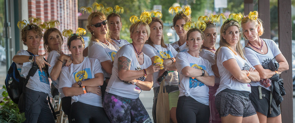 The Texas Tipsy Chicks from Austin and participants in the Ragnar Relay Napa Valley the day after the race finish in Calistoga, California.  justynebiddle@yahoo  jen@jenallis.com