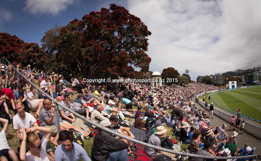 General view of the Basin Reserve.  First day, second test, ANZ Cricket Test series, New Zealand Black Caps v Sri Lanka, 03 January 2015, Basin Reserve, Wellington, New Zealand. Photo: John Cowpland / www.photosport.co.nz