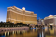 The Bellagio Hotel and Fountains along Las Vegas Boulevard in Las Vegas, Nevada.