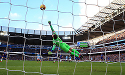 File photo dated 10-02-2019 of Chelsea goalkeeper Kepa Arrizabalaga dives in vain as Manchester City's Sergio Aguero (centre, background) scores his side's second goal of the game against Chelsea during the Premier League match at the Etihad Stadium, Manchester.