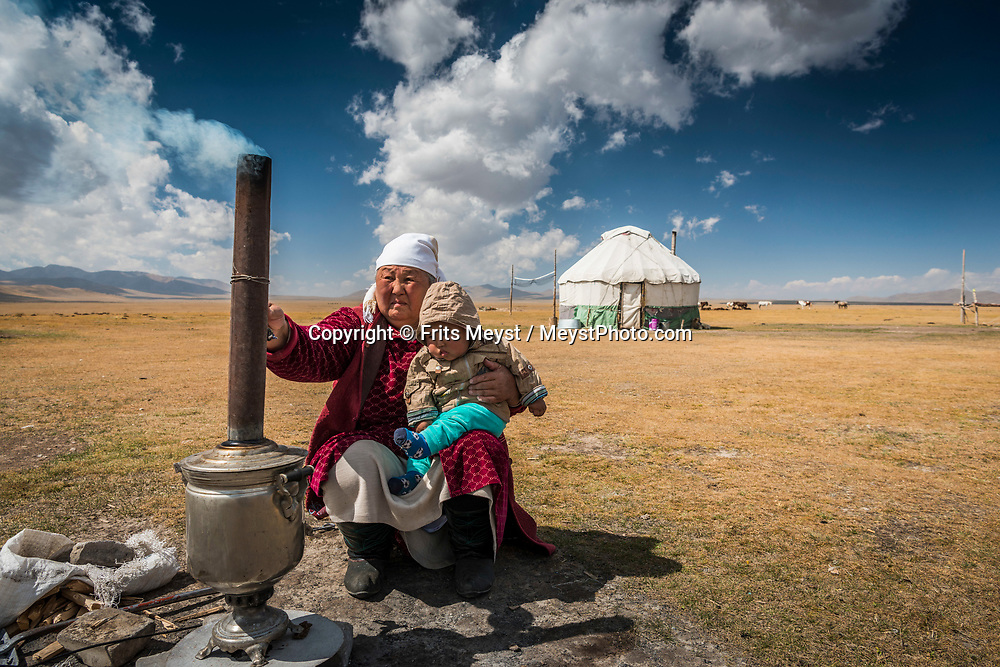 Son Kul, Kyrgyzstan, September 2018. A Traditional Kyrgyz nomad yurt camp. Song Köl is an alpine lake in northern Naryn Province, Kyrgyzstan. It lies at an altitude of 3016 m. The Alpine pasture surrounding the lake is home to many Kyrgyz nomadic families that live a traditional lifestyle hearding cattle for subsistance. Kyrgyzstan is a rugged Central Asian country along the Silk Road, the ancient trade route between China and the Mediterranean. The Tian Shan mountains, which surround the old caravan route and dominate the country. Photo by Frits Meyst / MeystPhoto.com