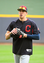 May 8, 2018 - Milwaukee, WI, U.S. - MILWAUKEE, WI - MAY 08: Cleveland Indians Center field Bradley Zimmer (4) warms up before  a MLB game between the Milwaukee Brewers and Cleveland Indians on May 8, 2018 at Miller Park in Milwaukee, WI. The Brewers defeated the Indians 3-2.(Photo by Nick Wosika/Icon Sportswire) (Credit Image: © Nick Wosika/Icon SMI via ZUMA Press)