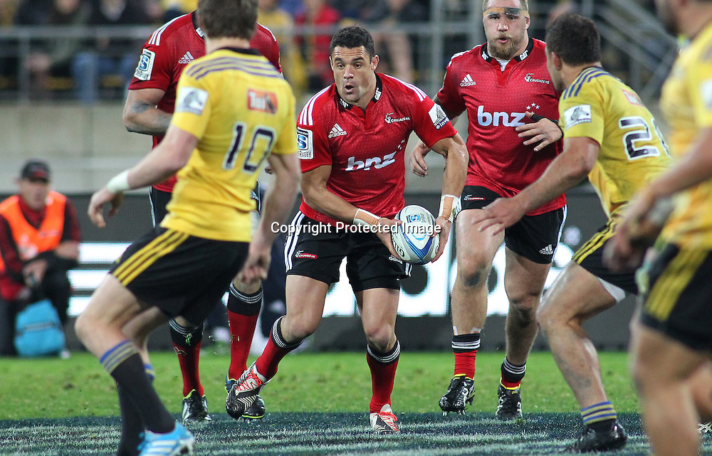 Crusaders' Dan Carter looks to pass during the Round 17 Super Rugby match, between the Hurricanes & Crusaders. Westpac Stadium, Wellington. 28 June 2014. Photo.: Grant Down / www.photosport.co.nz