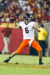 September 11, 2010; Los Angeles, CA, USA;  Virginia Cavaliers quarterback Marc Verica (6) throws the ball against the Southern California Trojans during the third quarter at the Los Angeles Memorial Coliseum.  USC defeated Virginia 17-14.