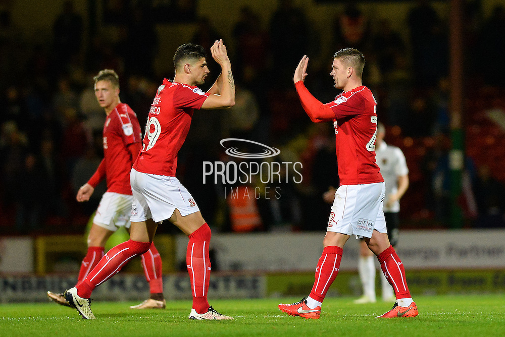 Swindon Town Players Celebrate after Swindon Town Midfielder, Sean Murray (22) scores 1-1 during the EFL Sky Bet League 1 match between Swindon Town and Northampton Town at the County Ground, Swindon, England on 27 September 2016. Photo by Adam Rivers.