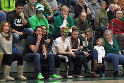 21 February 2015:  Fans with painted faces during an NCAA men's division 3 CCIW basketball game between the Elmhurst Bluejays and the Illinois Wesleyan Titans in Shirk Center, Bloomington IL