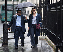 © Licensed to London News Pictures. 10/06/2019. London, UK. Work and Pensions Secretary AMBER RUDD is seen on crutches as she arrives at a press conference in Westminster, London, for the launch of Jeremy Hunt's bid to be the next leader of the Conservative party. Nominations open today for MPs to officially stand to be the leader of the Tory Party. Photo credit: Ben Cawthra/LNP