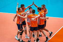 12-06-2019 NED: Golden League Netherlands - Estonia, Hoogeveen<br /> Fifth match poule B - The Netherlands win 3-0 from Estonia in the series of the group stage in the Golden European League / Daan van Haarlem #1 of Netherlands, Thijs Ter Horst #4 of Netherlands, Just Dronkers #19 of Netherlands, Gijs Jorna #7 of Netherlands
