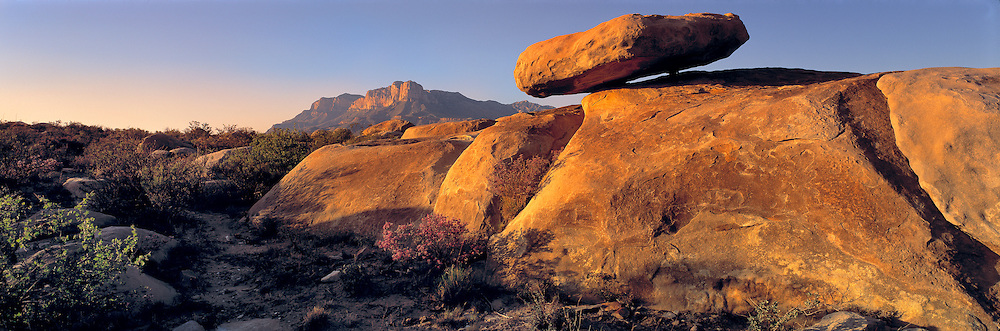 Sunset warms a balanced rock near Guadalupe Mountains National Park in west Texas.