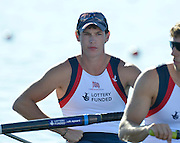 Varese,  ITALY. 2012 FISA European Championships, Lake Varese Regatta Course. ..GBR M2-, Bow. Kieren EMERY,  at the start of their heat of the Men's Pair. ..09:52:52  Friday  14/09/2012.....[Mandatory Credit Peter Spurrier:  Intersport Images]  ..2012 European Rowing Championships. .Rowing, European,  2012 010675.jpg....