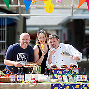 30.05.2018.             <br /> Limerick Food Group will hold Urban Food Fest street food evening in the Milk Market on Thursday June 14th with a 'Summer Fiesta' theme in one big Limerick city summer party.<br /> <br /> Pictured launching the event were, Stephen Cunneen, Treaty City Brewery, Olivia O'Sullivan, eatinlimerick.ie and Tom Flavin, Executive Chef, The Strand Hotel.<br />  <br /> Record crowds of 6,000 people turned out for Urban Food Fest in 2016 for Limerick Food Group's first event and the voluntary community group has gone from strength to strength since, with last year's event taking place as part of the Pigtown Culture & Food Series in September.. Picture: Alan Place