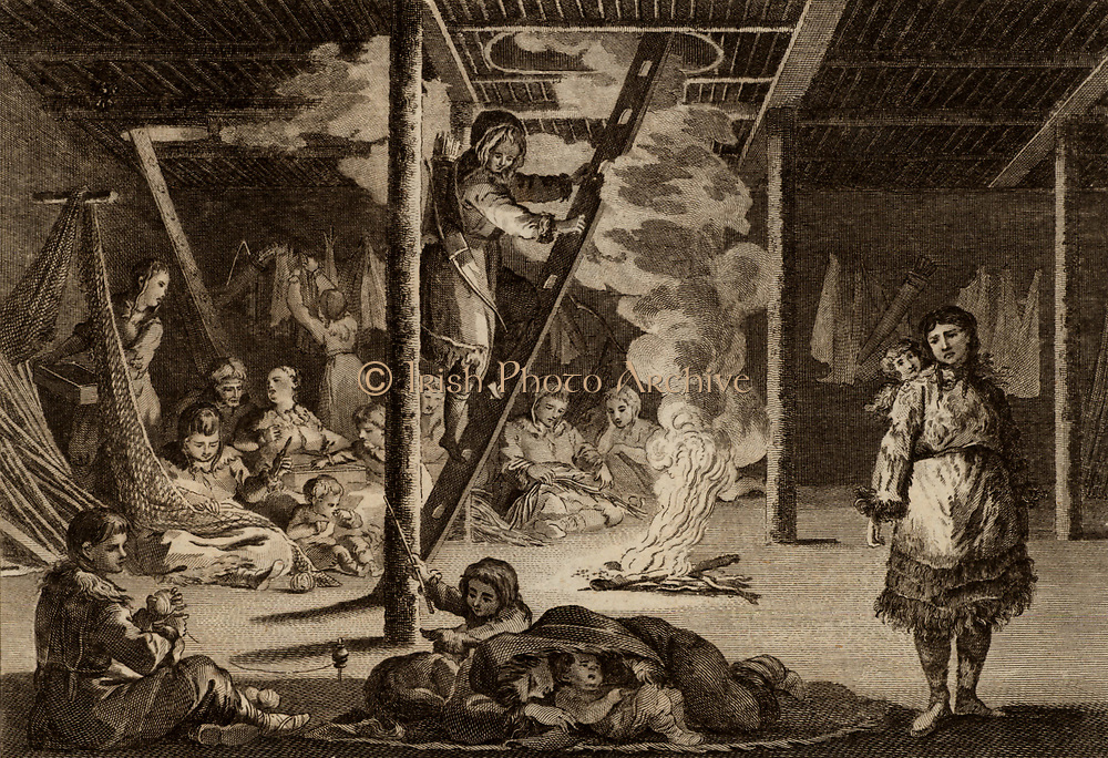 Winter Habitation of the Peasants of Kamtschatka'.  Engraving from 'New System of Geography' by Thomas Bankes (London, c1785). Inhabitants ot the Kamchatka Peninsula, Russian Far East, gathered in their winter quarters.  The hole in the ceiling above the fire also serves as an entrance and is fitted with a wooden ladder.On the left, nets are being made Arctic.