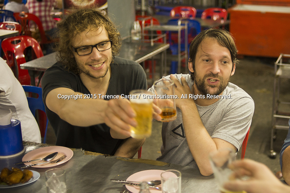 While there were plenty of offers to take the visiting chefs out to show them a night on the town, Redzepi and the Noma boys opted to celebrate with the Nahm chefs at a modest local Isaan (Northern Thai) place with fried chicken, grilled pork, Thai beer, and local rum. Copyright 2015 Terence Carter / Grantourismo. All Rights Reserved.