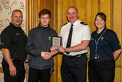 Pictured: PC Tony Howard, Group co-ordinator, Youth Volunteer, Greg Meechan, Assistant Chief Constable John Hawkins and Adult Volunteer Laura Stewart<br /> Today the Police Scotland's Youth Volunteer scheme was presented with 'Investing in Volunteers' award by Volunteer Scotland. Assistant Chief Constable John Hawkins, Justice Secretary Michael Matheson, and George Thomson (Chief Executive) from Volunteer Scotland were on hand for the ceremony.<br /> <br /> <br /> Ger Harley | EEm 13 December 2017