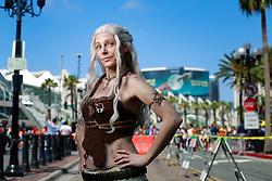 July 21, 2017 - San Diego, California, U.S. - MAUREEN DAWSON of Arlington, VA dressed Daenerys Targaryen from Game of Thrones at Comic-Con. (Credit Image: © K.C. Alfred/San Diego Union-Tribune via ZUMA Wire)