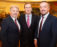 Ronan Scully  Gorta Self Help Africa  with Gorta Self Help chairman Tom Kitt and Ray Jordan CEO Gorta Self Help Africa at the Gorta Self Help Africa Annual Ball at the Galway Bay Hotel, Salthill Galway.<br /> Photo:Andrew Downes, xposure.