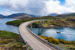 Kylesku Bridge on the North Coast 500 scenic driving route in Sutherland, Highland, northern Scotland, UK