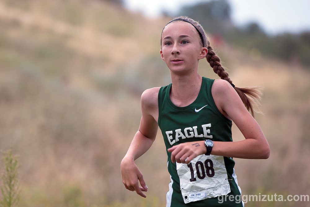 Eagle sophomore Madison Tanner has the lead in the Camels Back Classic girls junior varsity 5k race at Camels Back Park, Boise, Idaho, August 29, 2015. Tanner won the race with a time of 22:39.