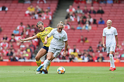 Katie McCabe of Arsenal tackles Sydney Lohmann of Bayern Munich - Mandatory by-line: Arron Gent/JMP - 28/07/2019 - FOOTBALL - Emirates Stadium - London, England - Arsenal Women v Bayern Munich Women - Emirates Cup