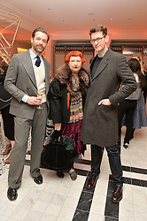 Left to right, PATRICK GRANT, LYNN YAEGER and MARK HOLGATE from Vogue US at a dinner to celebrate the exclusive Capsule collection: Maison Michel by Karl Lagerfeld held at Selfridges, 400 Oxford Street, London on 23rd February 2015.