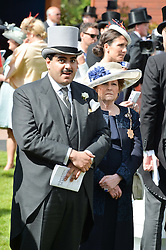 SHEIK HAMAD BIN ABDULLAH AL-THANI and LADY ELIZABETH ANSON at the Investec Derby 2015 at Epsom Racecourse, Epsom, Surrey on 6th June 2015.
