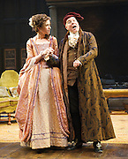 She Stoops to Conquer<br /> by Oliver Goldsmith <br /> directed by James Lloyd<br /> at the Olivier Theatre, Southbank, London, Great Britain <br /> 30th January 2012<br /> <br /> Steve Pemberton (as Mr Hardcastle)<br /> Katherine Kelly (as Kate Hardcastle)<br /> <br /> <br /> <br /> Photograph by Elliott Franks
